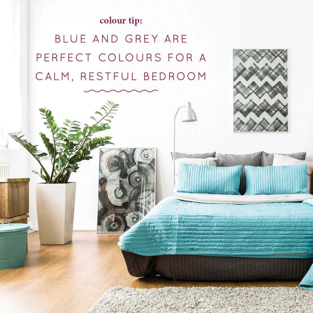 Blue and Grey for Bedrooms